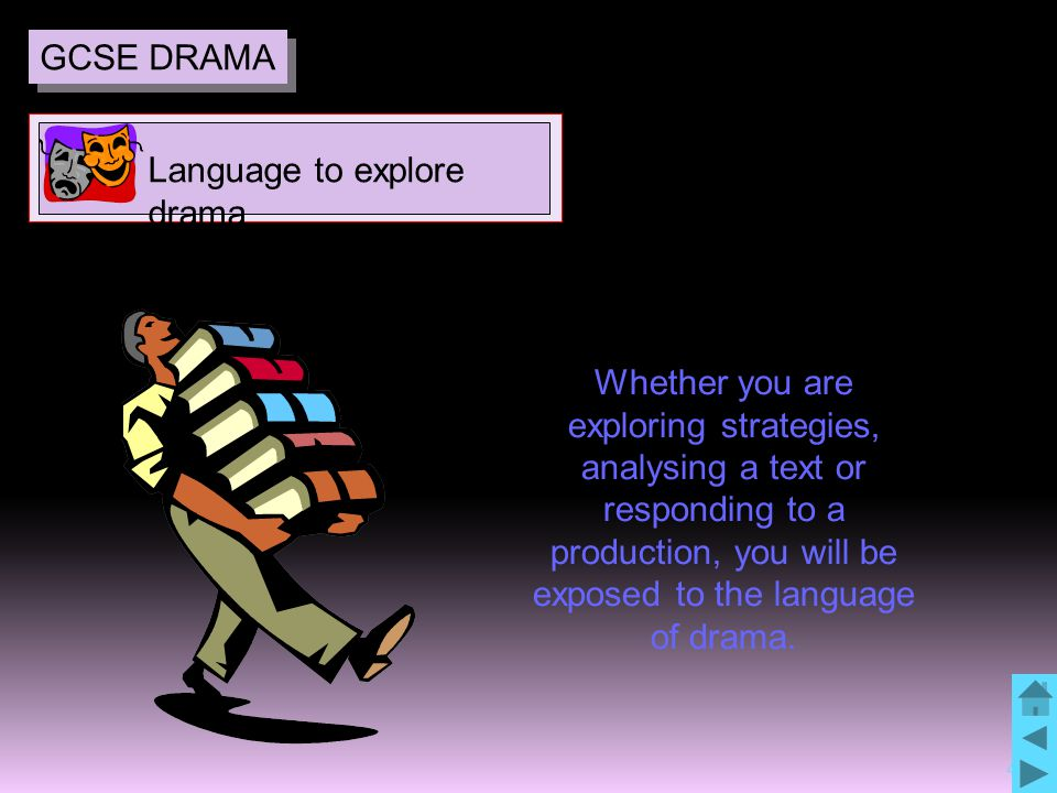 4 Whether you are exploring strategies, analysing a text or responding to a production, you will be exposed to the language of drama.