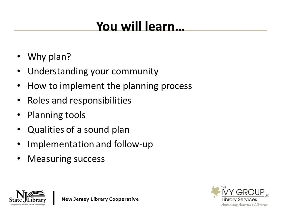 New Jersey Library Cooperative Why plan.