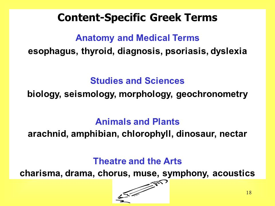 Susan Ebbers 200518 Content-Specific Greek Terms Anatomy and Medical Terms esophagus, thyroid, diagnosis, psoriasis, dyslexia Studies and Sciences biology, seismology, morphology, geochronometry Animals and Plants arachnid, amphibian, chlorophyll, dinosaur, nectar Theatre and the Arts charisma, drama, chorus, muse, symphony, acoustics