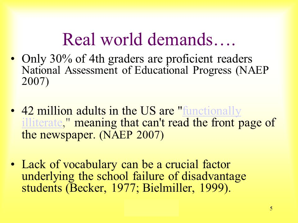 Susan Ebbers 20056  The average sixth grade student knows approximately 25,000 words.