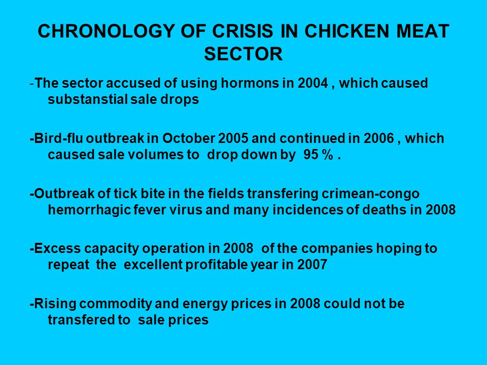 CHRONOLOGY OF CRISIS IN CHICKEN MEAT SECTOR -The sector accused of using hormons in 2004, which caused substanstial sale drops -Bird-flu outbreak in O