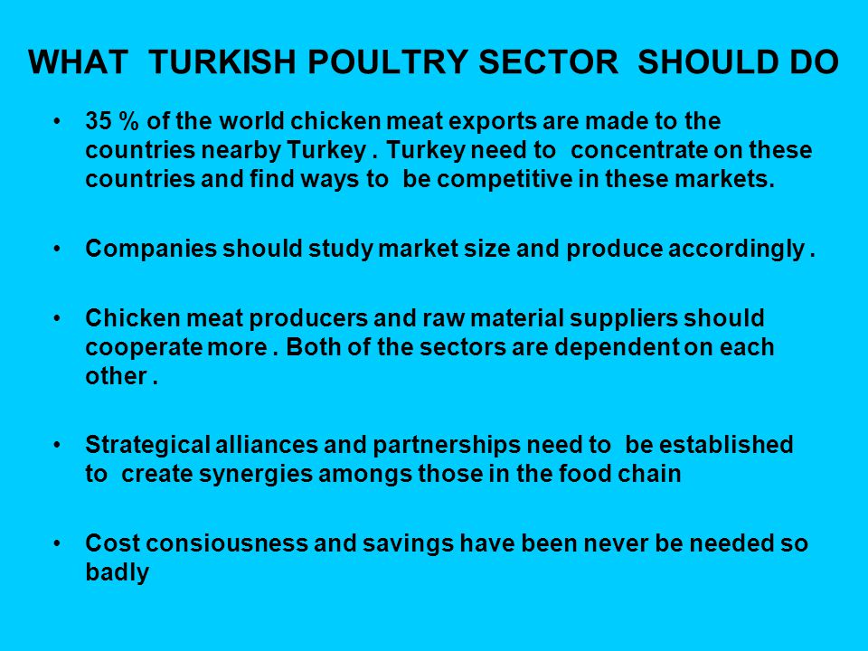 WHAT TURKISH POULTRY SECTOR SHOULD DO 35 % of the world chicken meat exports are made to the countries nearby Turkey.
