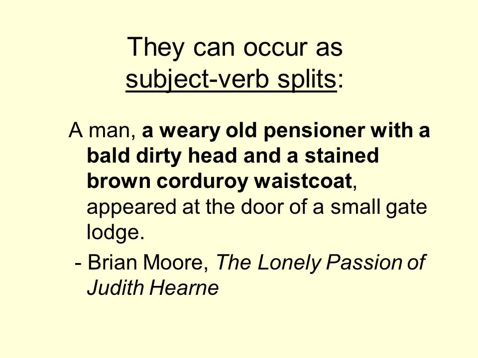 They can occur as subject-verb splits: A man, a weary old pensioner with a bald dirty head and a stained brown corduroy waistcoat, appeared at the doo