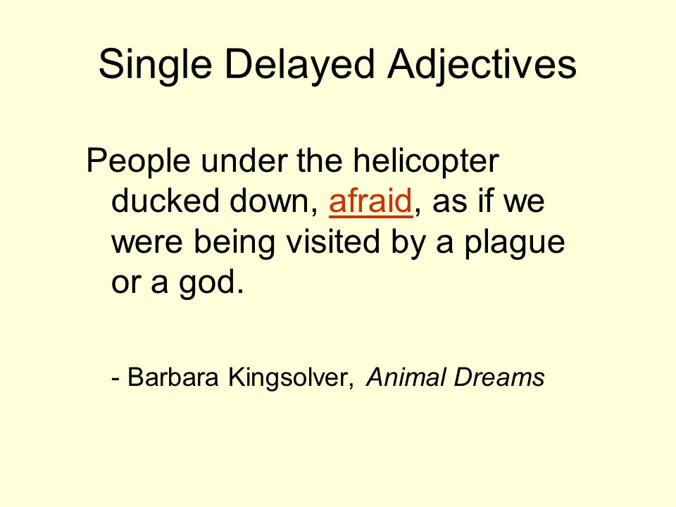 Single Delayed Adjectives People under the helicopter ducked down, afraid, as if we were being visited by a plague or a god. - Barbara Kingsolver, Ani