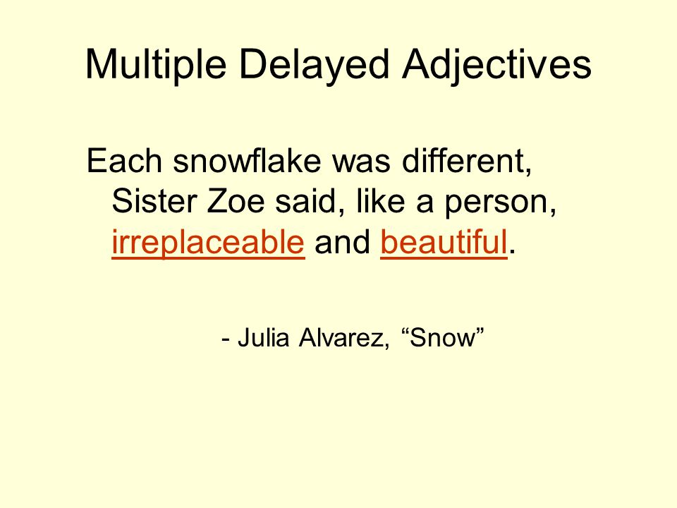 "Multiple Delayed Adjectives Each snowflake was different, Sister Zoe said, like a person, irreplaceable and beautiful. - Julia Alvarez, ""Snow"""