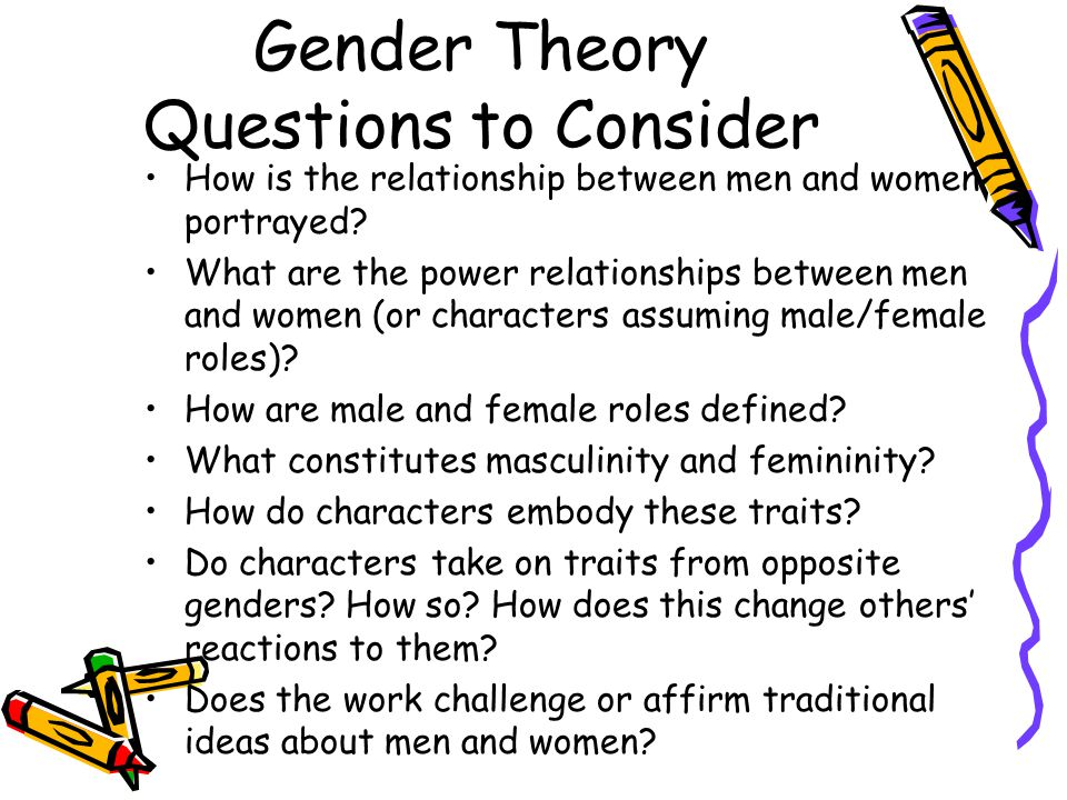 Gender Theory Questions to Consider How is the relationship between men and women portrayed? What are the power relationships between men and women (o