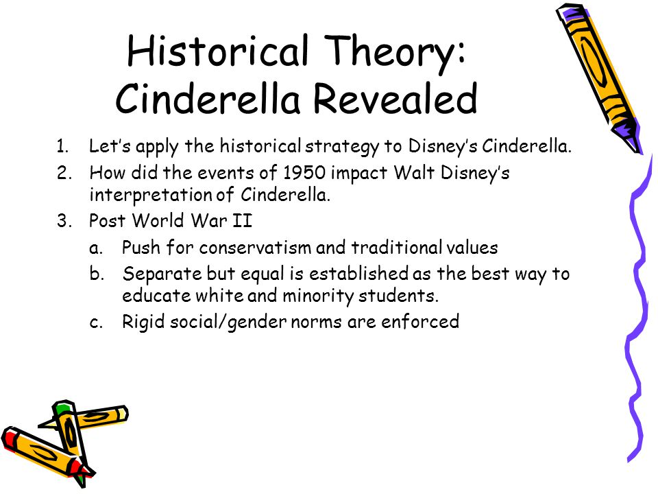 Historical Theory: Cinderella Revealed 1.Let's apply the historical strategy to Disney's Cinderella.