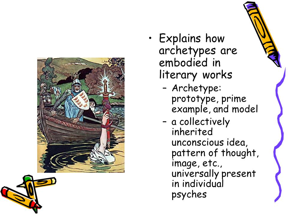 Explains how archetypes are embodied in literary works –Archetype: prototype, prime example, and model –a collectively inherited unconscious idea, pat
