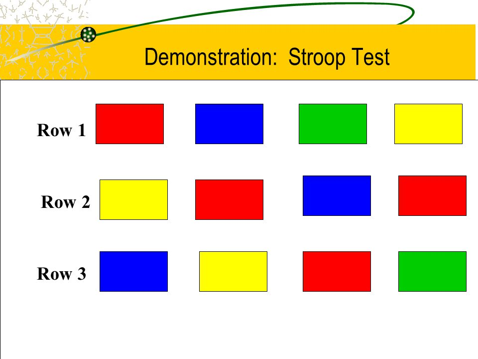 PSIC - January 2004 16 Demonstration: Stroop Test Row 1 Row 2 Row 3