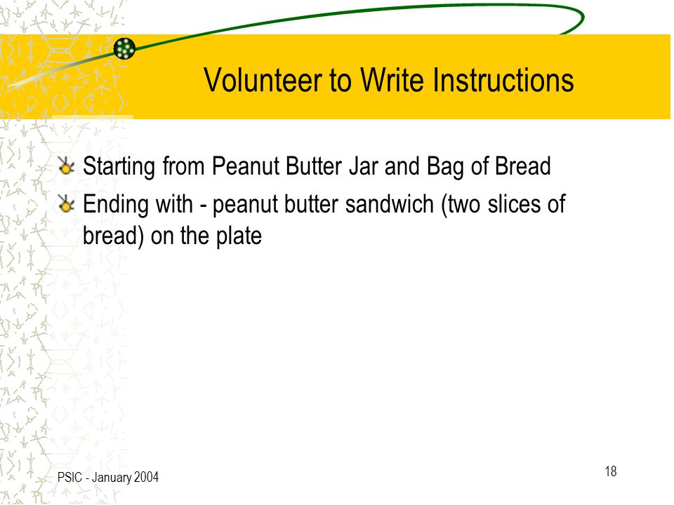 PSIC - January 2004 18 Volunteer to Write Instructions Starting from Peanut Butter Jar and Bag of Bread Ending with - peanut butter sandwich (two slices of bread) on the plate