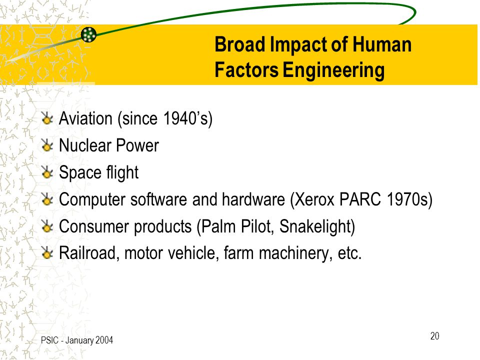 PSIC - January 2004 20 Broad Impact of Human Factors Engineering Aviation (since 1940's) Nuclear Power Space flight Computer software and hardware (Xerox PARC 1970s) Consumer products (Palm Pilot, Snakelight) Railroad, motor vehicle, farm machinery, etc.