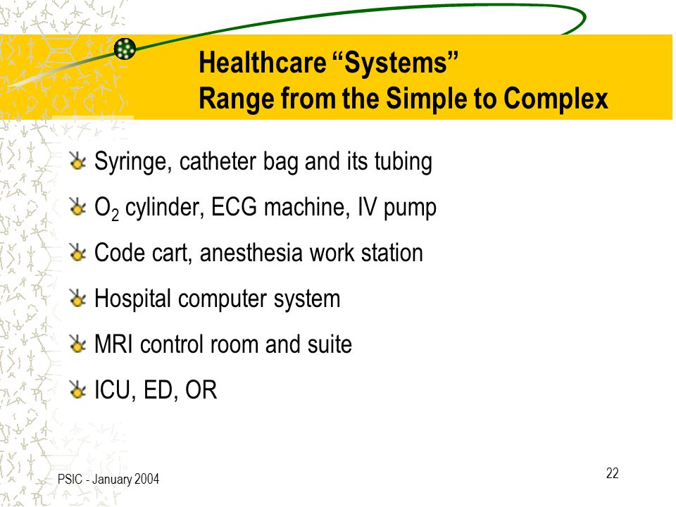 PSIC - January 2004 22 Healthcare Systems Range from the Simple to Complex Syringe, catheter bag and its tubing O 2 cylinder, ECG machine, IV pump Code cart, anesthesia work station Hospital computer system MRI control room and suite ICU, ED, OR