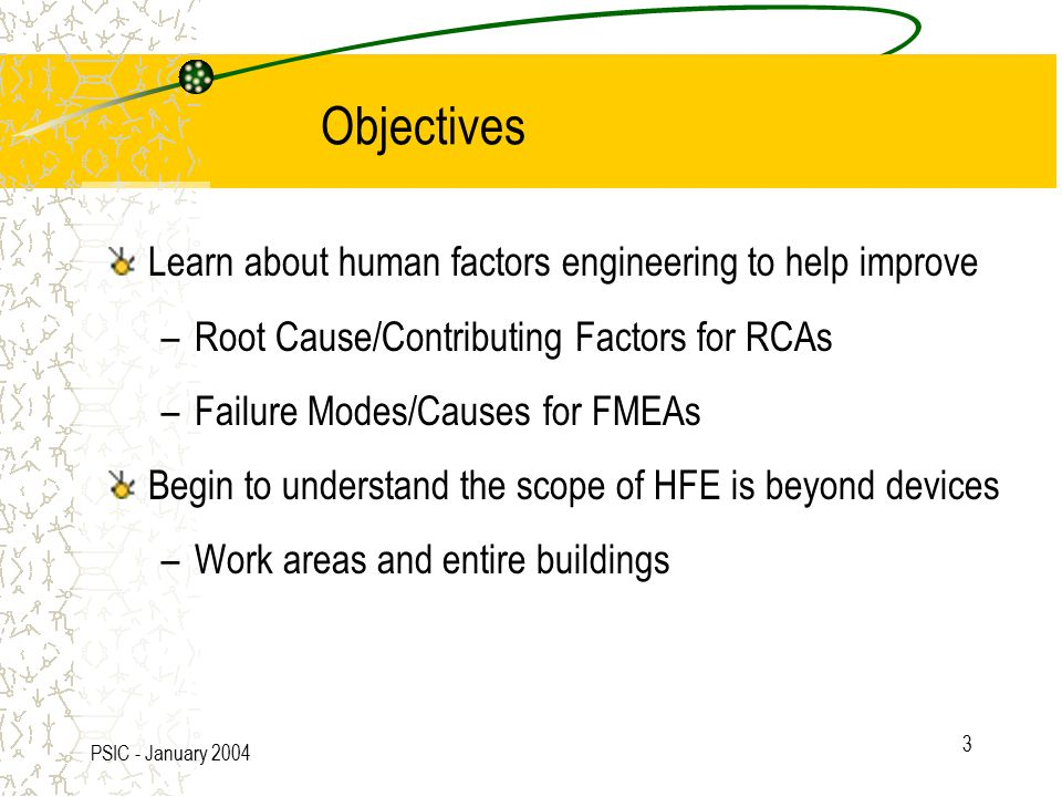 PSIC - January 2004 3 Objectives Learn about human factors engineering to help improve –Root Cause/Contributing Factors for RCAs –Failure Modes/Causes for FMEAs Begin to understand the scope of HFE is beyond devices –Work areas and entire buildings