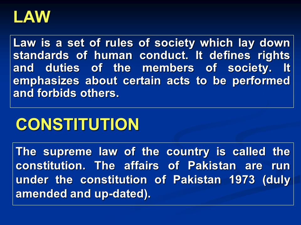 LAW Law is a set of rules of society which lay down standards of human conduct. It defines rights and duties of the members of society. It emphasizes