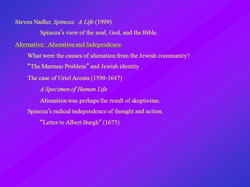 Steven Nadler, Spinoza: A Life (1999) Spinoza's view of the soul, God, and the Bible.