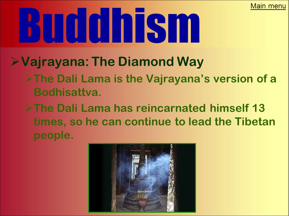 Main menu Buddhism  Vajrayana: The Diamond Way  Mantras: Fashion sounds into holy formulas  Mudras: Turn hand gestures into scared dances  Mandala