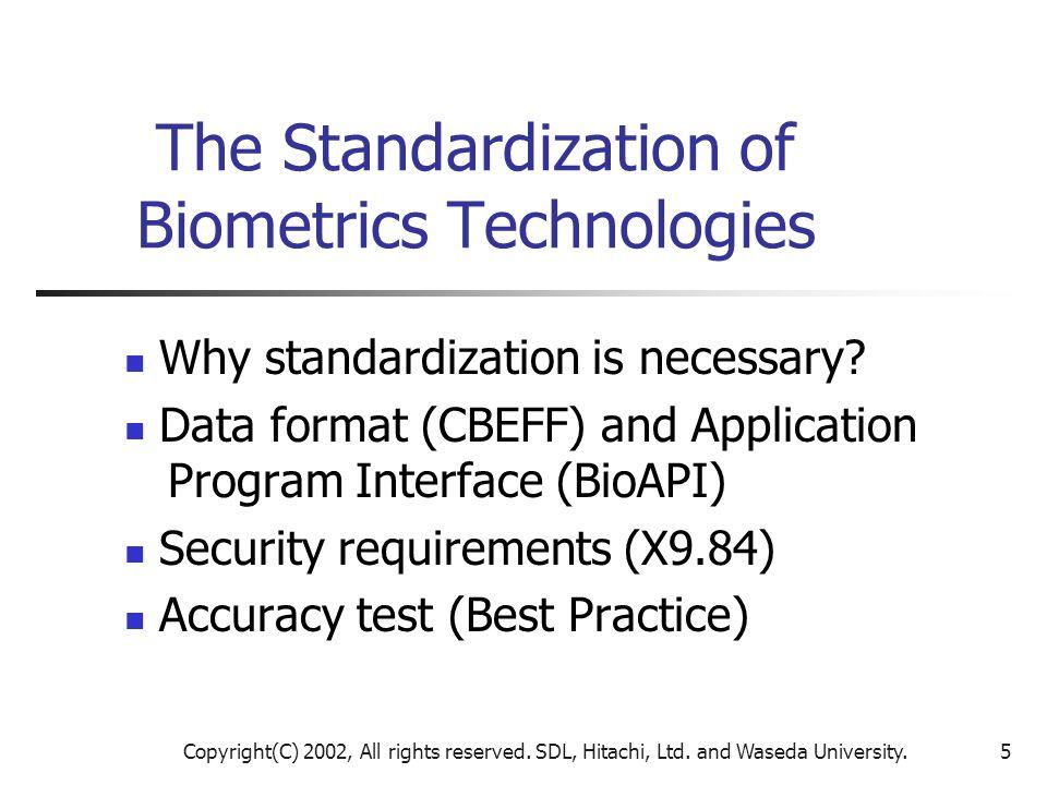 Copyright(C) 2002, All rights reserved. SDL, Hitachi, Ltd. and Waseda University.5 The Standardization of Biometrics Technologies Why standardization