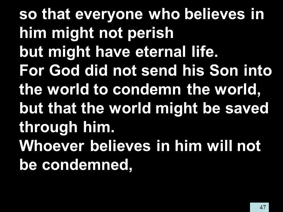 47 so that everyone who believes in him might not perish but might have eternal life.