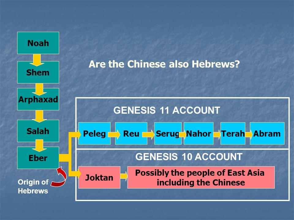 Noah Shem Arphaxad Peleg Salah Joktan Eber ReuSerugNahorTerahAbram Possibly the people of East Asia including the Chinese GENESIS 11 ACCOUNT GENESIS 10 ACCOUNT Origin of Hebrews Are the Chinese also Hebrews