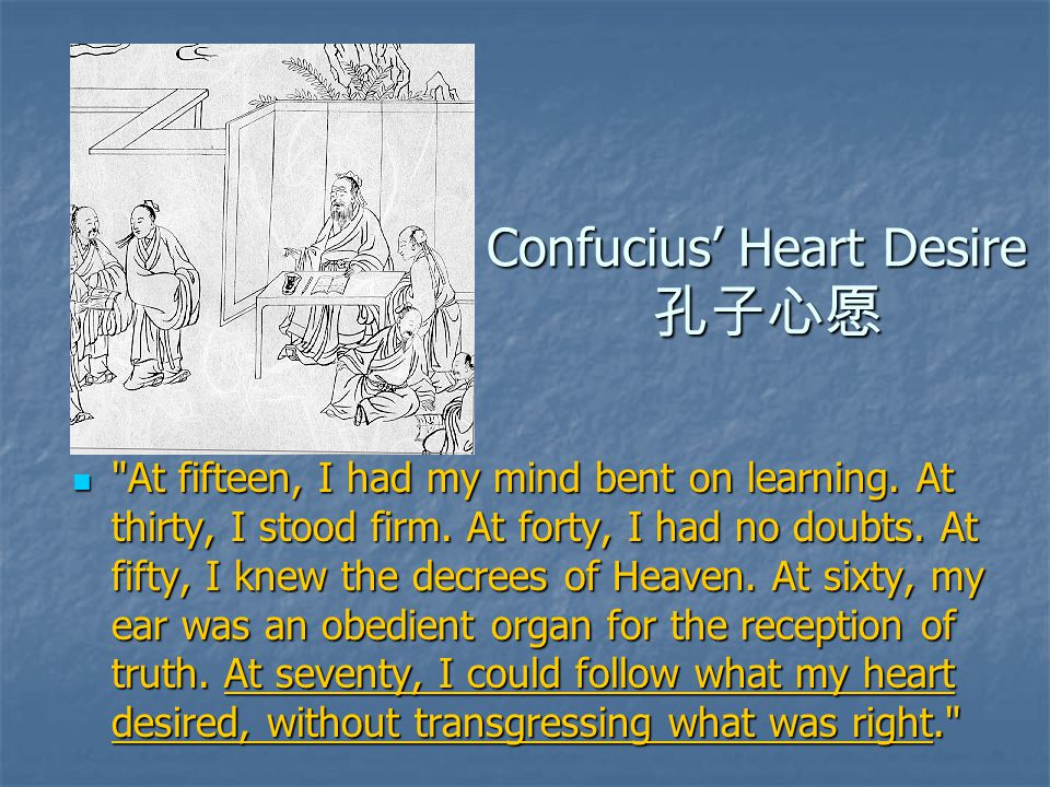 Confucius' Heart Desire 孔子心愿 At fifteen, I had my mind bent on learning.