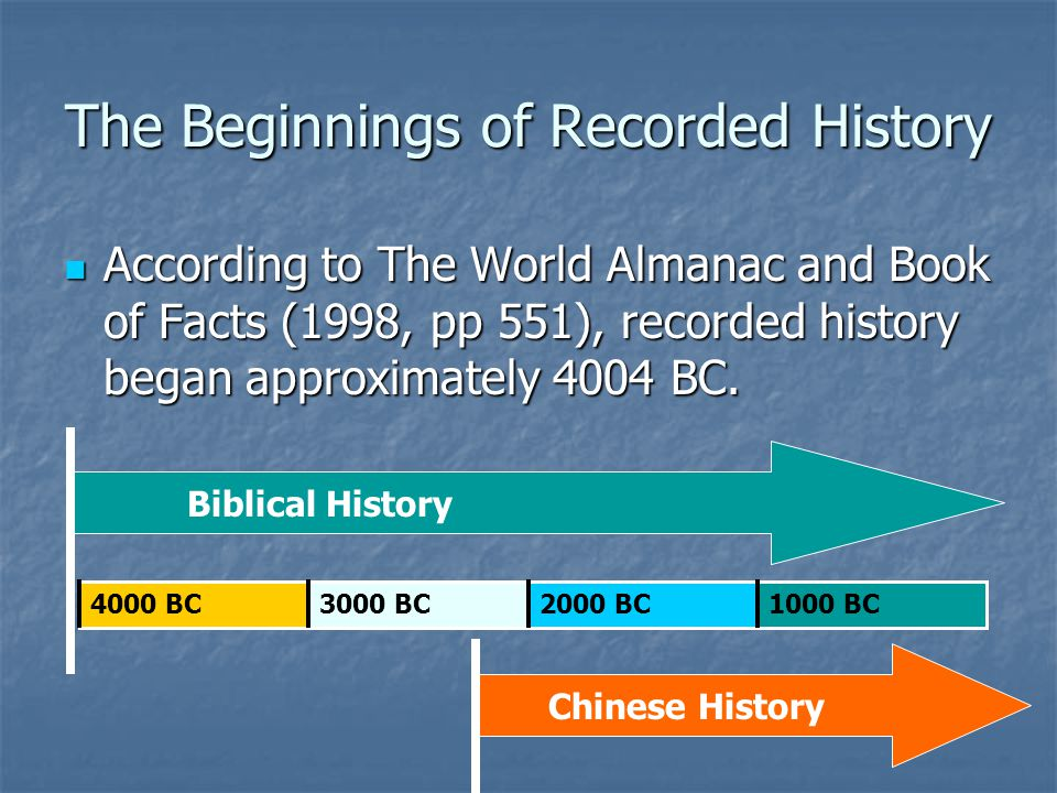 The Beginnings of Recorded History According to The World Almanac and Book of Facts (1998, pp 551), recorded history began approximately 4004 BC.