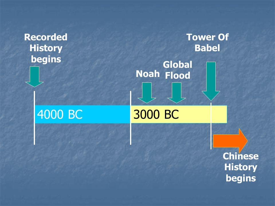 Recorded History begins Noah 4000 BC 3000 BC Global Flood Tower Of Babel Chinese History begins