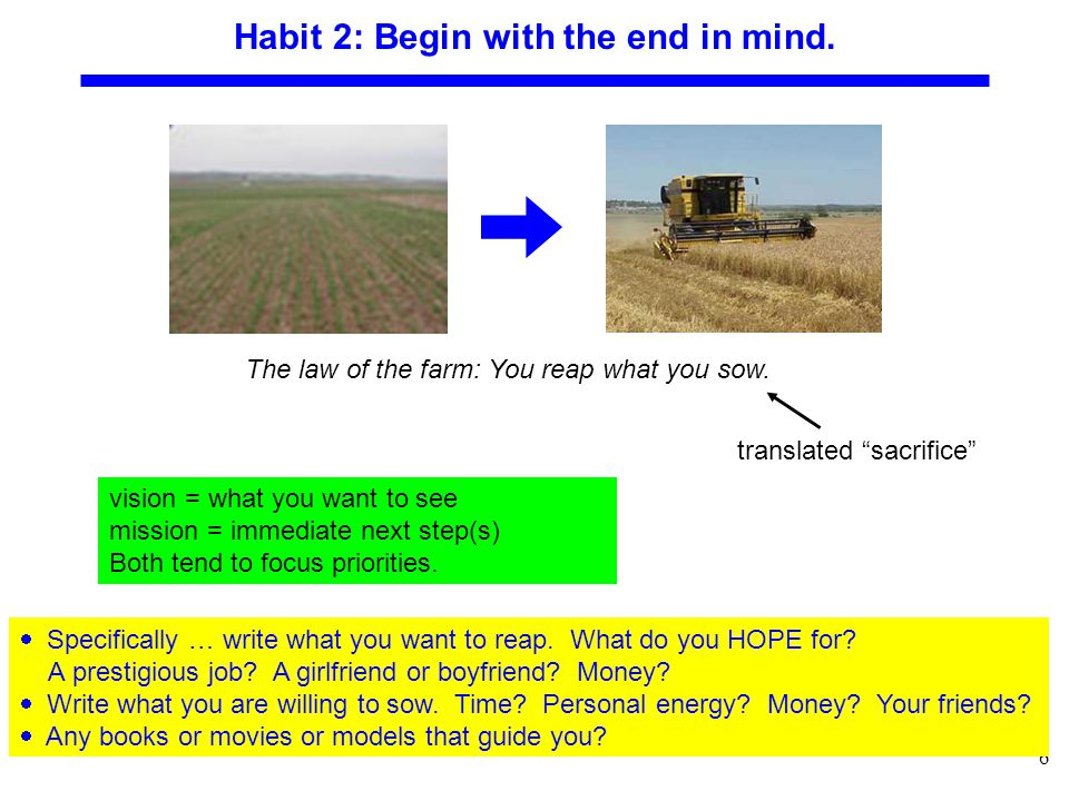 6 Habit 2: Begin with the end in mind.  Specifically … write what you want to reap.