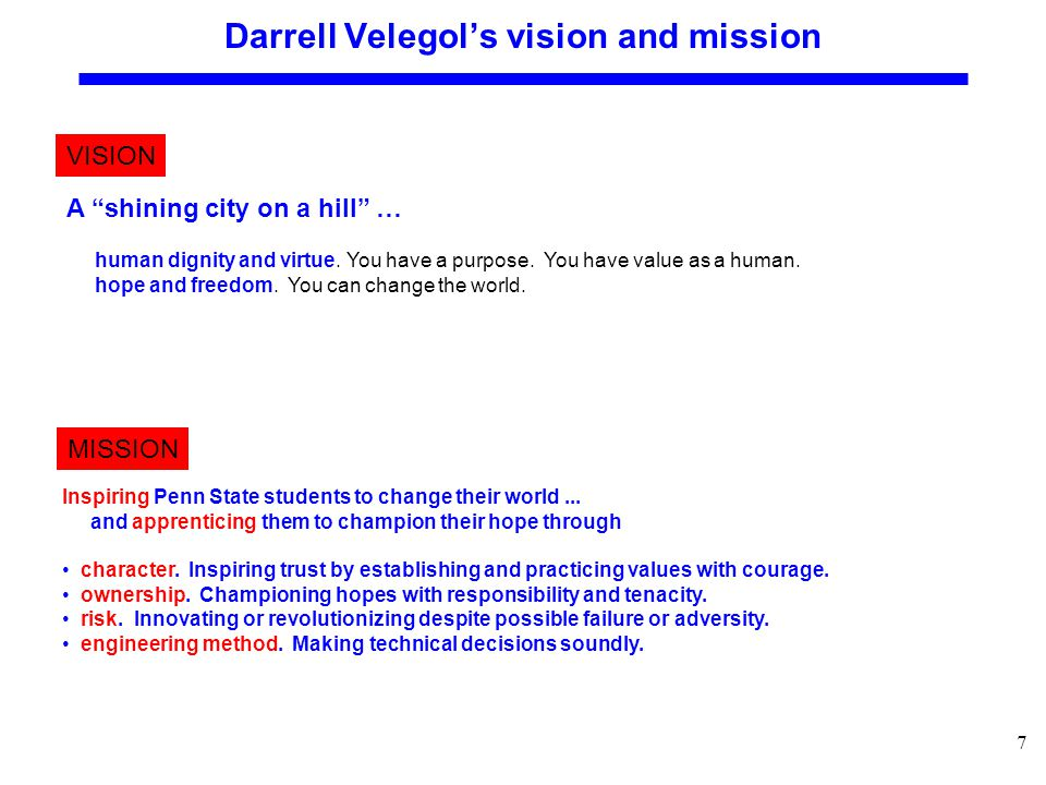 7 Darrell Velegol's vision and mission VISION MISSION Inspiring Penn State students to change their world...