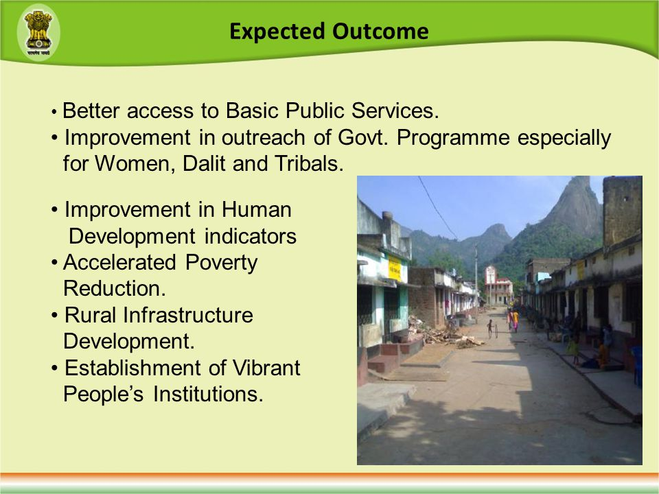 Expected Outcome Better access to Basic Public Services.