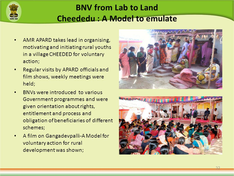 BNV from Lab to Land Cheededu : A Model to emulate AMR APARD takes lead in organising, motivating and initiating rural youths in a village CHEEDED for voluntary action; Regular visits by APARD officials and film shows, weekly meetings were held; BNVs were introduced to various Government programmes and were given orientation about rights, entitlement and process and obligation of beneficiaries of different schemes; A film on Gangadevpalli-A Model for voluntary action for rural development was shown; 32