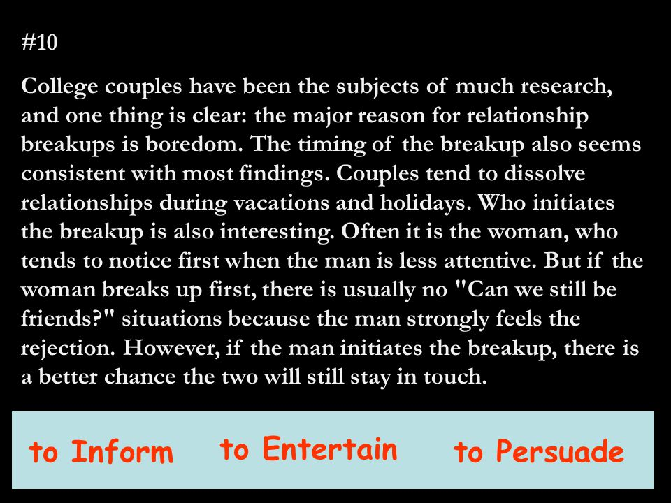 #10 College couples have been the subjects of much research, and one thing is clear: the major reason for relationship breakups is boredom.