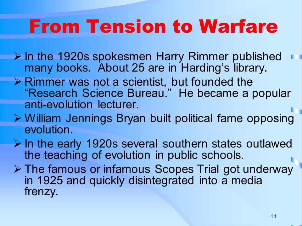 44 From Tension to Warfare  In the 1920s spokesmen Harry Rimmer published many books.