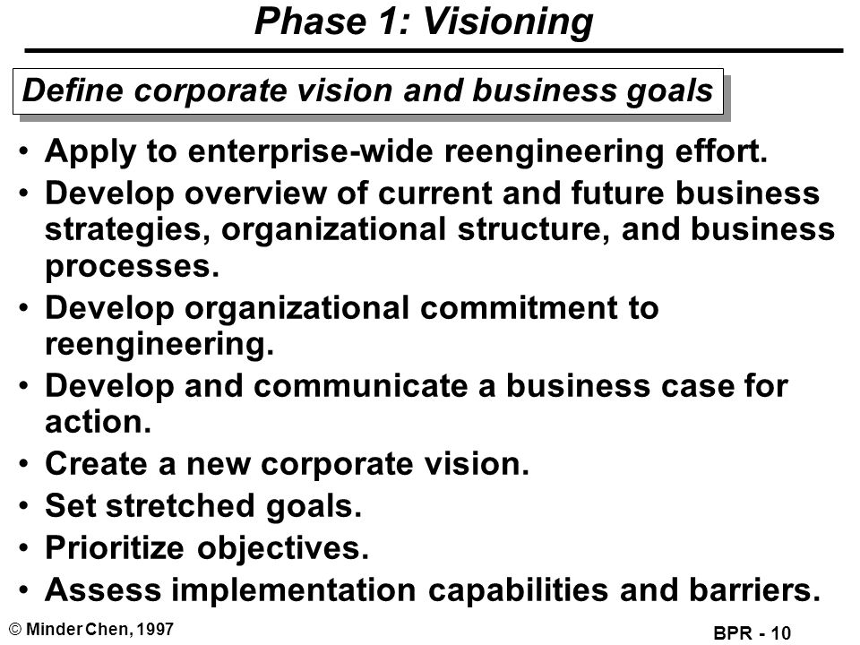 BPR - 10 © Minder Chen, 1997 Phase 1: Visioning Apply to enterprise-wide reengineering effort. Develop overview of current and future business strateg