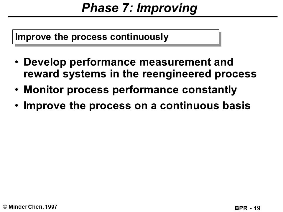 BPR - 19 © Minder Chen, 1997 Phase 7: Improving Develop performance measurement and reward systems in the reengineered process Monitor process perform