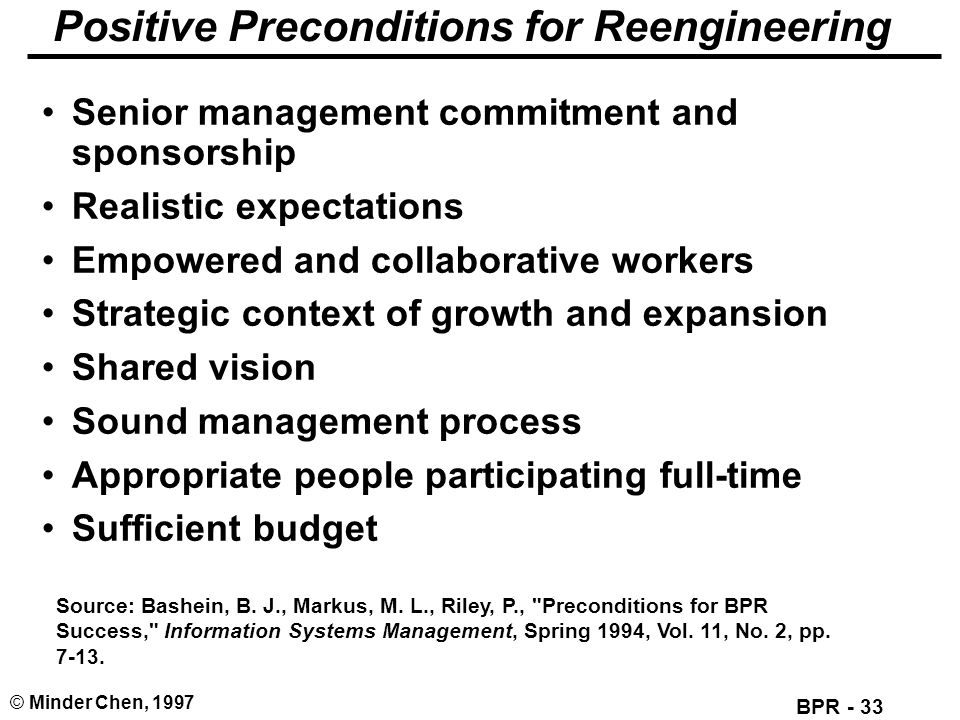 BPR - 33 © Minder Chen, 1997 Positive Preconditions for Reengineering Senior management commitment and sponsorship Realistic expectations Empowered an