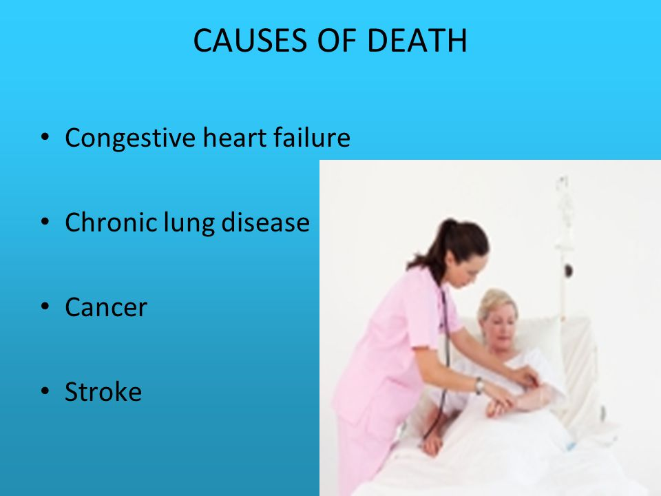 CAUSES OF DEATH Congestive heart failure Chronic lung disease Cancer Stroke