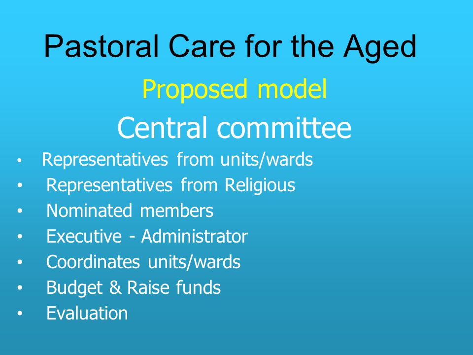 Pastoral Care for the Aged Proposed model Central committee Representatives from units/wards Representatives from Religious Nominated members Executive - Administrator Coordinates units/wards Budget & Raise funds Evaluation