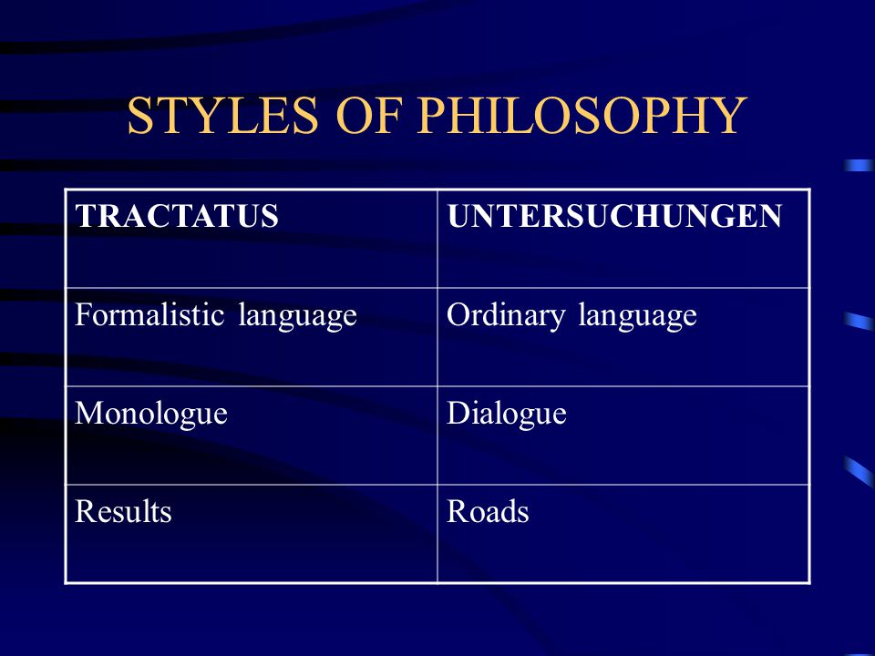 CONTRA METAPHYSICS  Wittgenstein relates semantics (study of the meaning of linguistic signs) and pragmatics (the study of the use of linguistic signs).