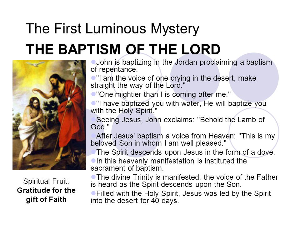 The First Luminous Mystery THE BAPTISM OF THE LORD John is baptizing in the Jordan proclaiming a baptism of repentance.