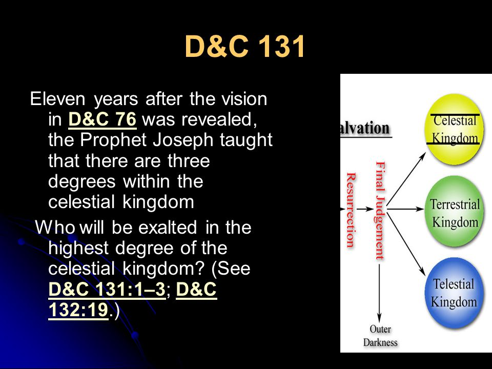 D&C 131 Eleven years after the vision in D&C 76 was revealed, the Prophet Joseph taught that there are three degrees within the celestial kingdomD&C 76 Who will be exalted in the highest degree of the celestial kingdom.