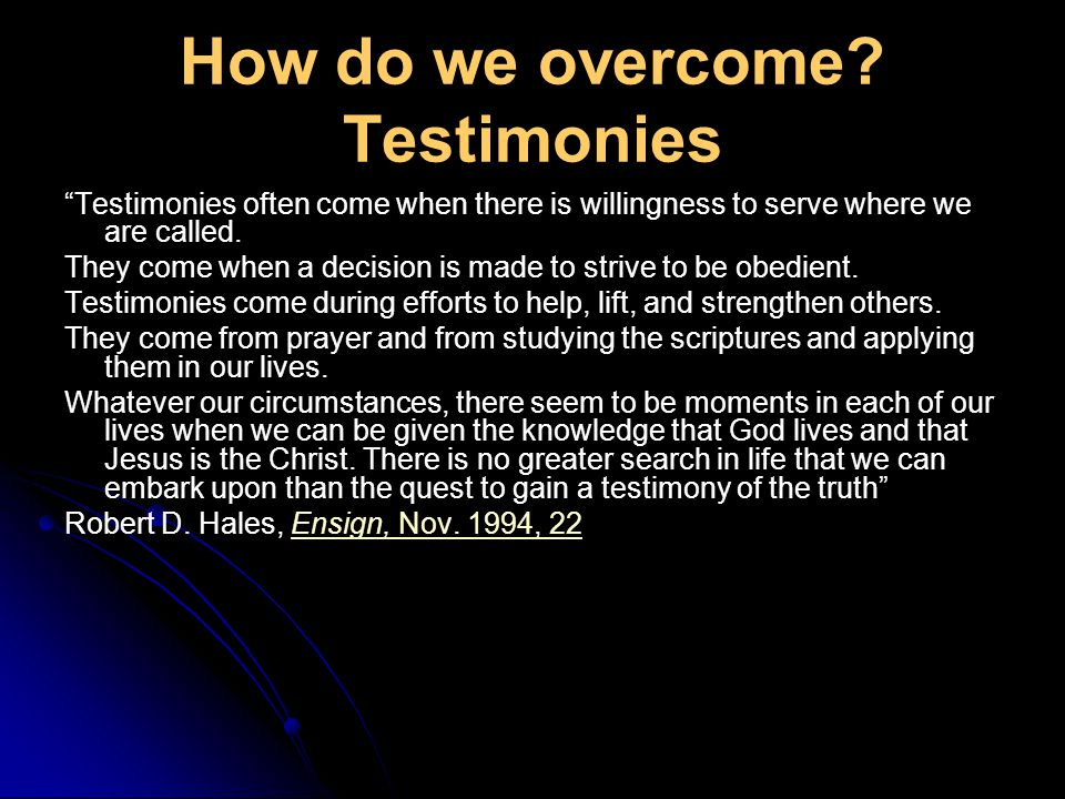How do we overcome.