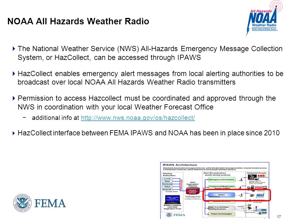 17 NOAA All Hazards Weather Radio  The National Weather Service (NWS) All-Hazards Emergency Message Collection System, or HazCollect, can be accessed through IPAWS  HazCollect enables emergency alert messages from local alerting authorities to be broadcast over local NOAA All Hazards Weather Radio transmitters  Permission to access Hazcollect must be coordinated and approved through the NWS in coordination with your local Weather Forecast Office − additional info at http://www.nws.noaa.gov/os/hazcollect/http://www.nws.noaa.gov/os/hazcollect/  HazCollect interface between FEMA IPAWS and NOAA has been in place since 2010