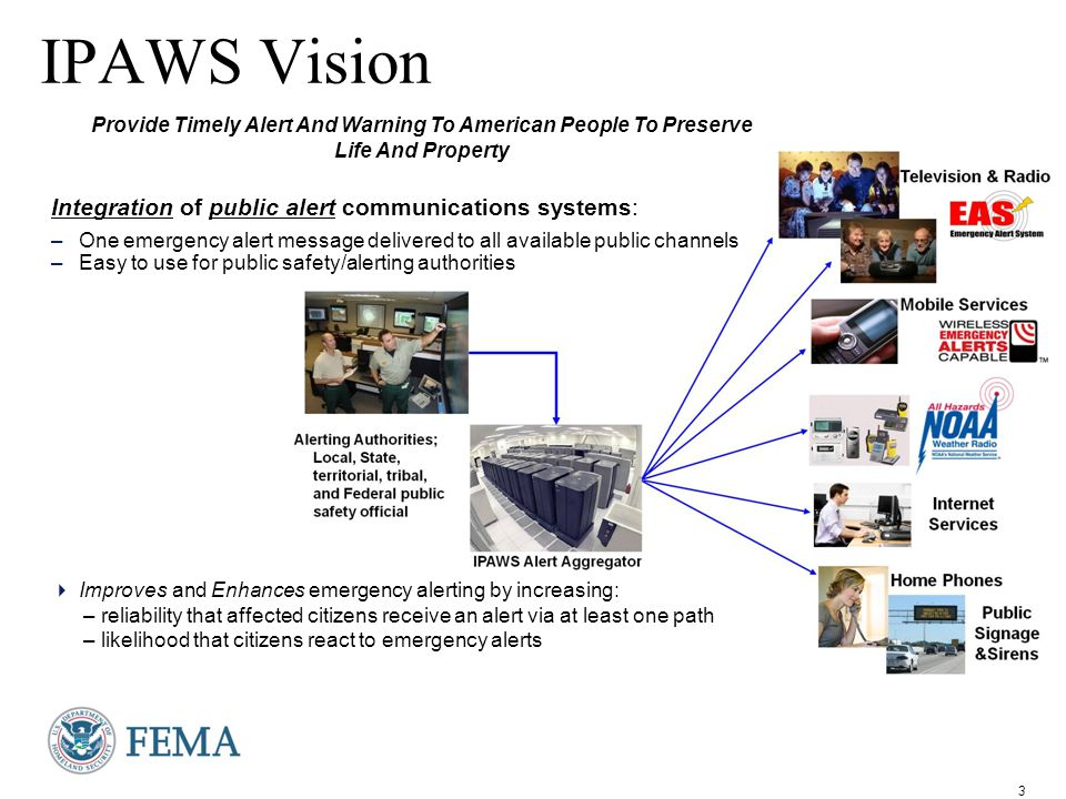 4 Alert Disseminators (public alerting systems) IPAWS Architecture Standards based alert message protocols, authenticated alert message senders, shared, trusted access & distribution networks, alerts delivered to more public interface devices cell phones web applications, widgets, web sites, social media Emergency Alert System Commercial Mobile Alert System (CMAS) Internet Services NOAA Alert Aggregator/ Gateway the Message Router (Open Platform for Emergency Networks) HazCollect Local State Territorial Tribal Federal* ETN FM RBDS NWS CAP messages IPAWS compliant CAP Alert Origination Tools IPAWS OPEN Future Technologies Alerting Authorities * Includes NOAA IPAWS compliant CAP Alert Origination Tools State / Local Unique Alerting Systems American People Digital Signage Siren All Radio and TV AM FM; Digital, Analog, Cable, and Satellite Emergency