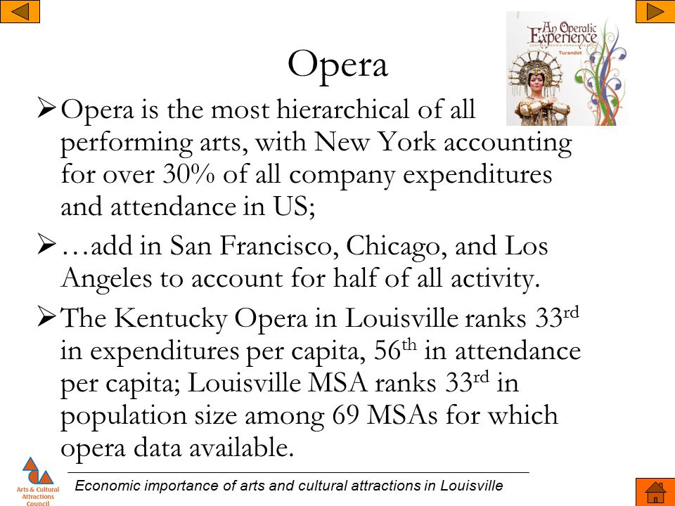 Opera  Opera is the most hierarchical of all performing arts, with New York accounting for over 30% of all company expenditures and attendance in US;  …add in San Francisco, Chicago, and Los Angeles to account for half of all activity.