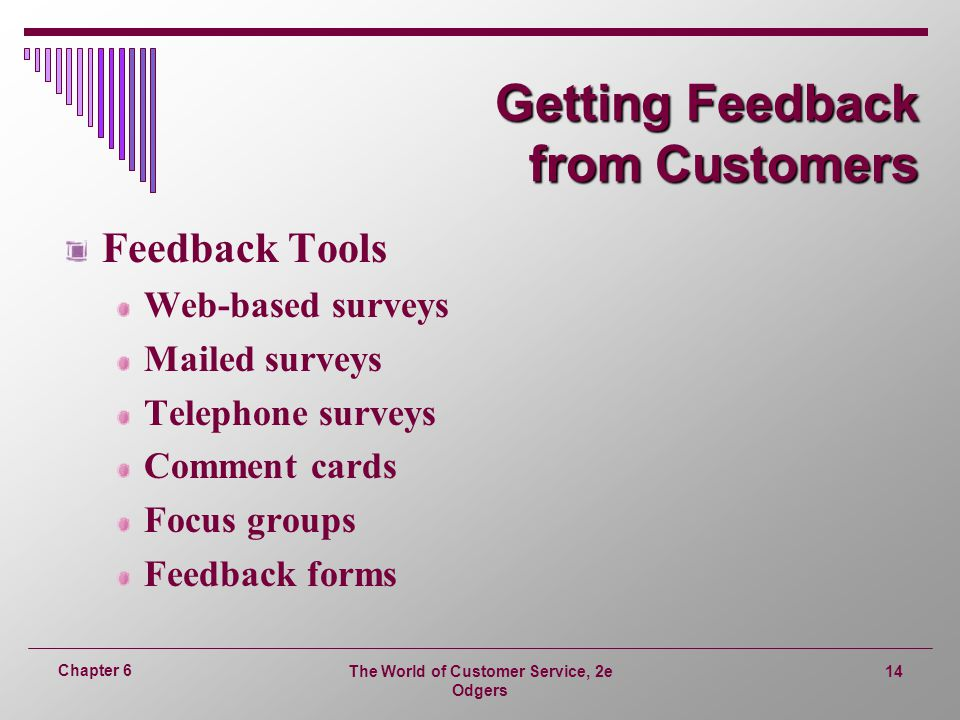 The World of Customer Service, 2e Odgers 14 Chapter 6 Getting Feedback from Customers Feedback Tools Web-based surveys Mailed surveys Telephone surveys Comment cards Focus groups Feedback forms