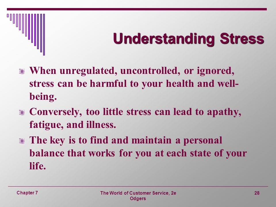 The World of Customer Service, 2e Odgers 28 Chapter 7 Understanding Stress When unregulated, uncontrolled, or ignored, stress can be harmful to your health and well- being.