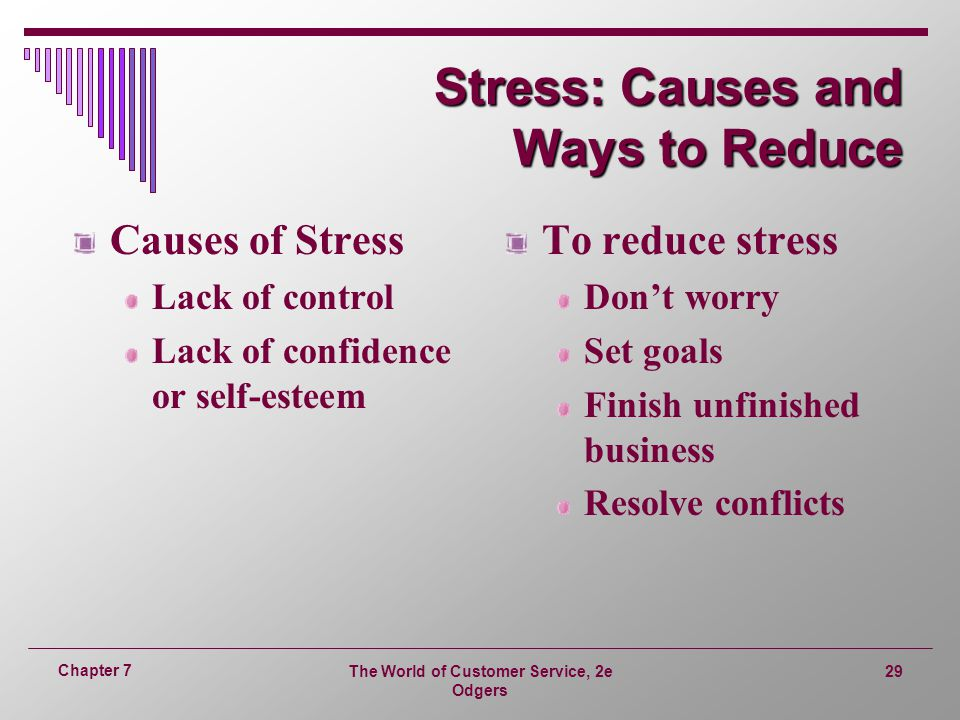 The World of Customer Service, 2e Odgers 29 Chapter 7 Stress: Causes and Ways to Reduce Causes of Stress Lack of control Lack of confidence or self-esteem To reduce stress Don't worry Set goals Finish unfinished business Resolve conflicts