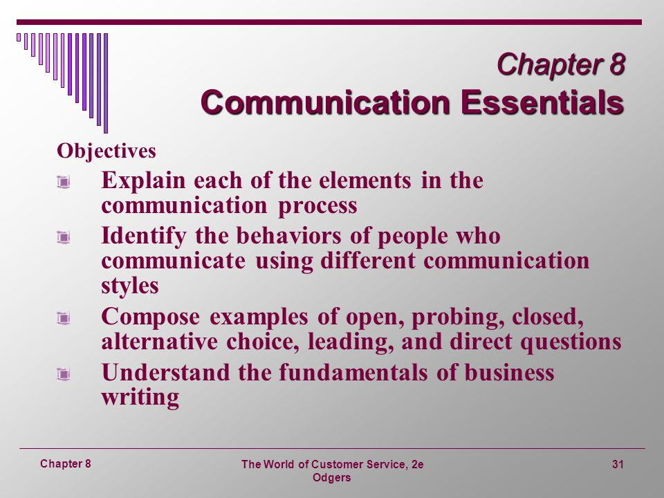 The World of Customer Service, 2e Odgers 31 Chapter 8 Chapter 8 Communication Essentials Objectives Explain each of the elements in the communication process Identify the behaviors of people who communicate using different communication styles Compose examples of open, probing, closed, alternative choice, leading, and direct questions Understand the fundamentals of business writing