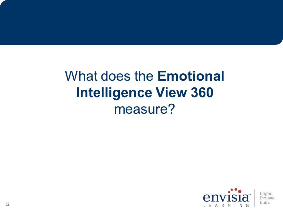 32 What does the Emotional Intelligence View 360 measure