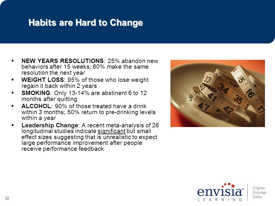 52 Habits are Hard to Change  NEW YEARS RESOLUTIONS: 25% abandon new behaviors after 15 weeks; 60% make the same resolution the next year  WEIGHT LOSS: 95% of those who lose weight regain it back within 2 years  SMOKING: Only 13-14% are abstinent 6 to 12 months after quitting  ALCOHOL: 90% of those treated have a drink within 3 months; 50% return to pre-drinking levels within a year  Leadership Change: A recent meta-analysis of 26 longitudinal studies indicate significant but small effect sizes suggesting that is unrealistic to expect large performance improvement after people receive performance feedback